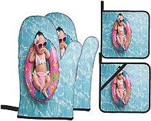 YOLIKA Baby Girl Sleeping On Pool Print,4Pcs Oven