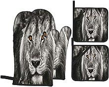 YOLIKA Black And White Gray Lion Head,4Pcs Oven