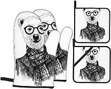 YOLIKA Black And White Sketch Bear Print,4Pcs Oven