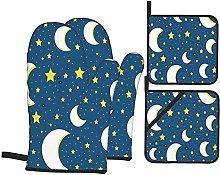 YOLIKA Dark Blue On Moon And Stars Cool,4Pcs Oven
