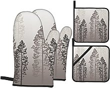 YOLIKA Gray Wild Pine Forest Themed Print,4Pcs