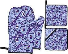 YOLIKA Purple Fishes,4Pcs Oven Mitts and Pot