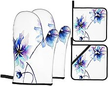 YOLIKA Purple Water Flower,4Pcs Oven Mitts and Pot