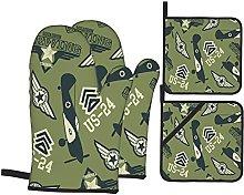 YOLIKA WW2 Air Squadron On Green,4Pcs Oven Mitts