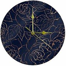 Yoliveya Round Wall Clock Silent Gold Rose Navy