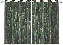 YongFoto 117x229cm Forest Windows Curtain, Cartoon