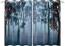 YongFoto 117x229cm Forest Windows Curtain, Quiet