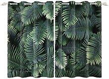 YongFoto 117x229cm Leaves Windows Curtain, Lush