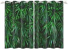 YongFoto 132x214cm Leaves Windows Curtain, Lush