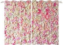 YongFoto 140x229cm Flowers Windows Curtain, Vivid