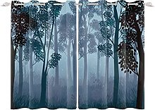YongFoto 168x229cm Forest Windows Curtain, Quiet
