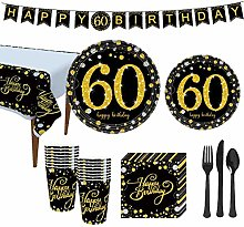 YOPOTIKA 60th Birthday Party Supplies Tableware