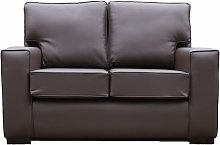York 2 Seater Contemporary Faux Leather Sofa Brown