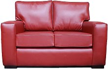 York 2 Seater Contemporary Faux Leather Sofa Red