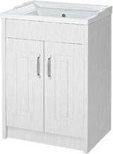 York Porcelain White 600mm 2 Door Cabinet & Basin