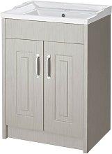York Stone Grey Wood 600mm 2 Door Cabinet & Basin