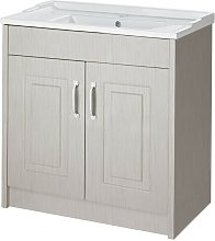 York Stone Grey Wood 800mm 2 Door Cabinet & Basin
