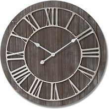 Yorkers Wooden Wall Clock In Brown With Nickel