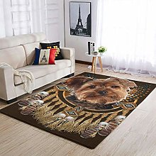Yorkie Dreamcatcher cute Area Rug Patterned Puffy