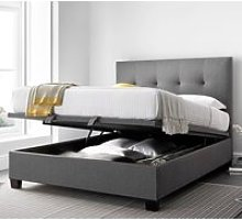 Yorkie Grey Fabric Ottoman Bed Frame - 6ft Super