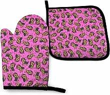 Yorkie Party Pink Wolf Purple Galaxy Oven Mitt