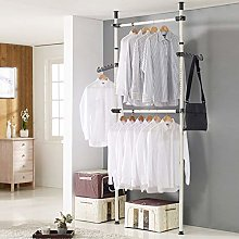 YORKING Hanging Clothes Rail with 2 Poles 2 Bars,