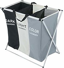 YORKING Large Laundry Basket 3 Sections Aluminium