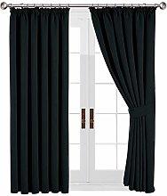 Yorkshire Bedding Black Curtains Pencil Pleats 90