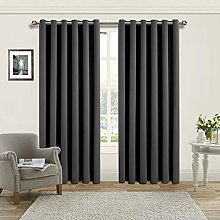 Yorkshire Bedding Grey Blackout Curtain Ring Top