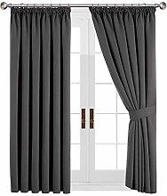 Yorkshire Bedding Grey Curtains Pencil Pleats 46 x