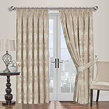 Yorkshire Bedding Jacquard Beige Curtains 66 x 72