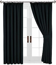 Yorkshire Bedding Thermal Blackout Pleated Black