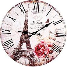Yosoo Vintage Paris Eiffel Tower Wood Wall Clock