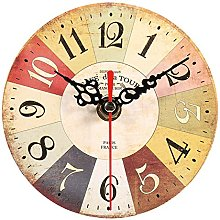 Yosoo Wooden Round Wall Clock Creative Antique