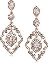 Youdert Chandelier Wedding Earrings Rose Gold