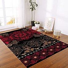 YOUHU Area Rug,Vintage Exotic Red Mandala Floral