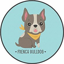 YOUHU Round Living Room Area Rugs,Beach Bulldog
