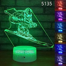 YOUPING 3D Illusion Lamp Led Night Light Skiing