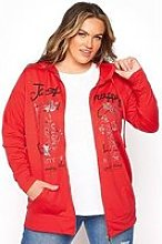 Yours Clothing Printed Front Hoodie Red