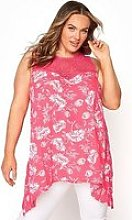 Yours Yours Clothing Epp Aop Floral Vest. Coral