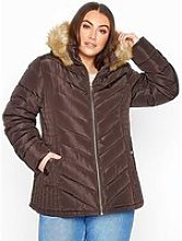 Yours Yours New Fur Hooded Padded Coat - Brown