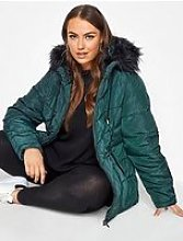 Yours Yours Panelled Padded Jacket - Green
