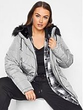 Yours Yours Panelled Padded Jacket - Silver