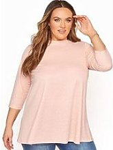 Yours Yours Three Quarter Sleeve Jacquard Top -