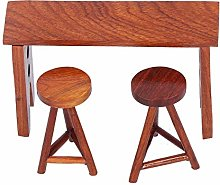 YOUTHINK 1:12 Miniature Wooden Table and Stool,