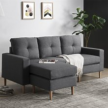 Youthup - Fabric Corner Sofa Couch L Shape Sofa