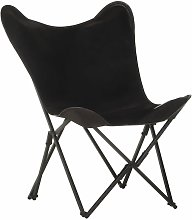 YOUTHUP Foldable Butterfly Chair Black Real Leather