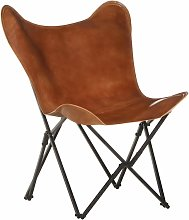 YOUTHUP Foldable Butterfly Chair Brown Real Leather
