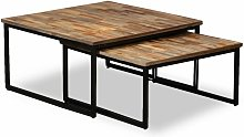 Youthup - Nesting Coffee Table Set 2 Pieces Solid