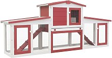 Youthup - Outdoor Large Rabbit Hutch Red and White